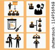 mechanical engineer, project management, business, machine, industrial and construction icon set - stock vector