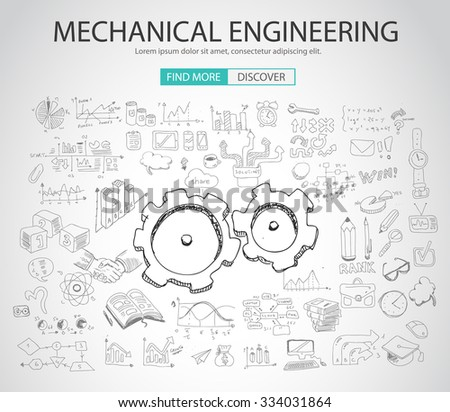 Mechanical Engineering concept with Doodle design style :physics solution, re-engineering, parts design.Modern style illustration for web banners, brochure and flyers. - stock vector