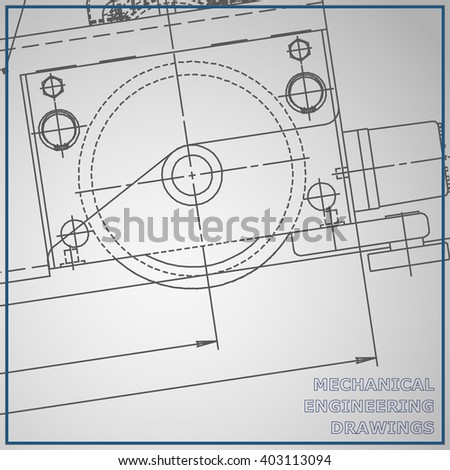 Mechanical engineering drawing blue and gray background. Engineering Vector
