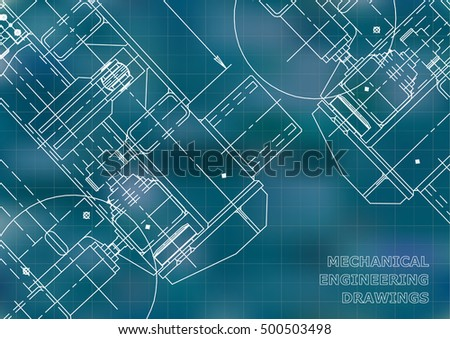 Mechanical Engineering drawing. Blueprints. Mechanics. Cover, background for your design. Blue. Grid