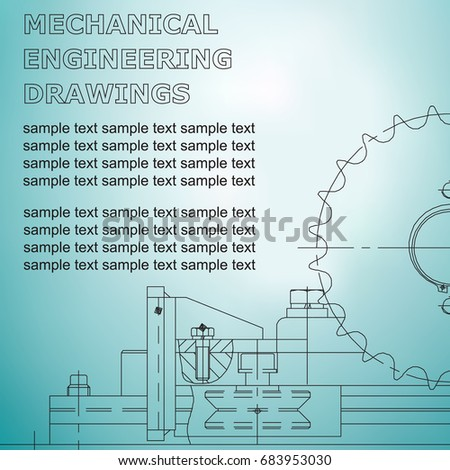 Mechanical engineering drawings on light blue stock vector 683953030 mechanical engineering drawings on a light blue background blueprint malvernweather Images