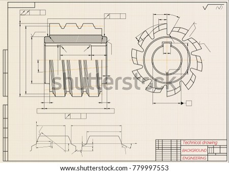 Mechanical engineering drawings on beige technical stock photo mechanical engineering drawings on beige technical paper background cutting tools milling cutter industrial malvernweather Image collections