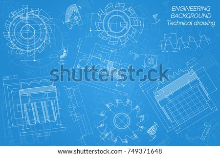 Mechanical engineering drawings on blue background vectores en stock blueprint vector illustration mechanical engineering drawings on blue background cutting tools milling cutter technical design malvernweather Image collections