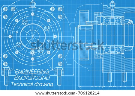 Vector background abstract engineering drawing tech vectores en mechanical engineering drawings on blue background milling machine spindle technical design cover malvernweather Gallery