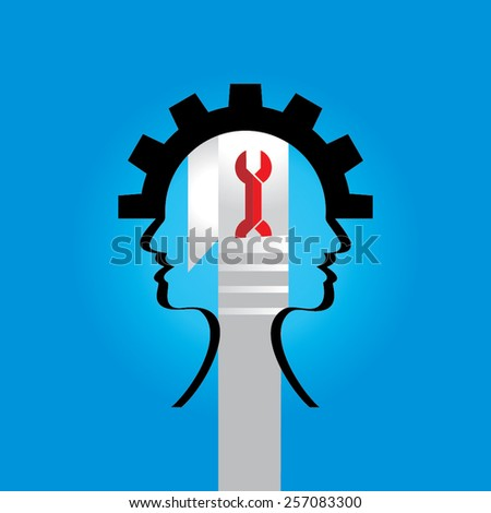 mechanical engineering idea human head with gear - stock vector