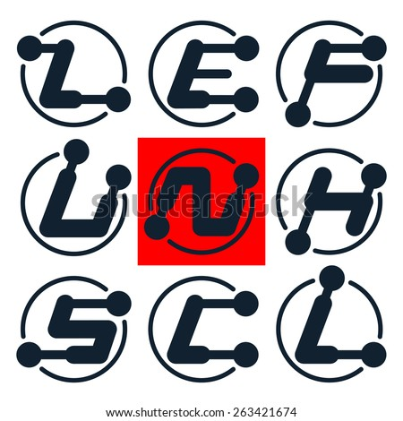 Mechanical font with the levers. Letters Z, E, F, U, N, H, S, C, L. Vector design elements or logo. - stock vector
