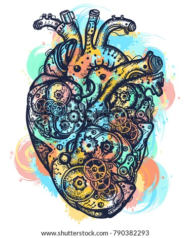 Mechanical heart color tattoo water color splashes. Symbol of emotions, love, feeling. Anatomic mechanic heart steampunk t-shirt design