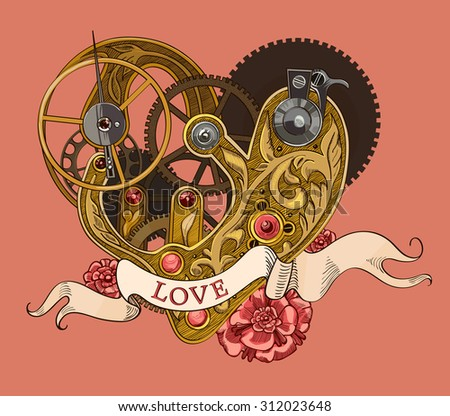 Mechanical human heart with LOVE lettering on a ribbon. - stock vector