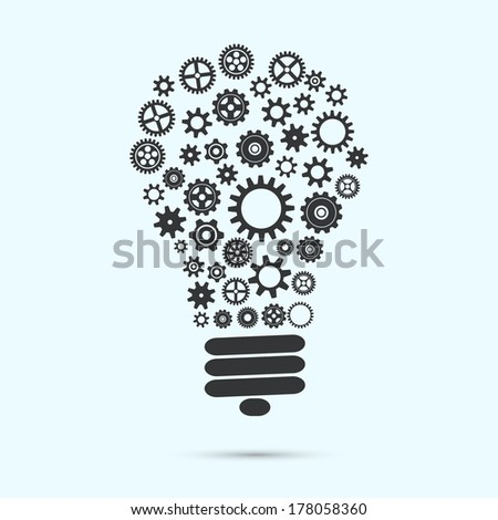 Mechanical light bulb with gears and cogs innovation concept isolated vector illustration - stock vector