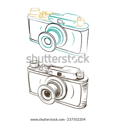 Mechanical retro camera made in the thumbnail style on a white background - stock vector