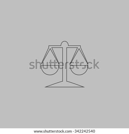 Mechanical scales. Outlne vector icon on grey background - stock vector