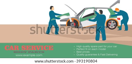 Mechanical specialist try to assembly a sport car from body parts components. Web page layout design. Car service workshop. Vector illustration concept for website, promotion, banner design - stock vector