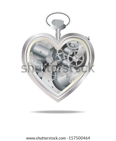 mechanical sprocket heart - stock vector