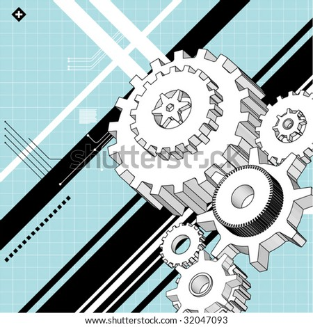 mechanical technical drawings - stock vector
