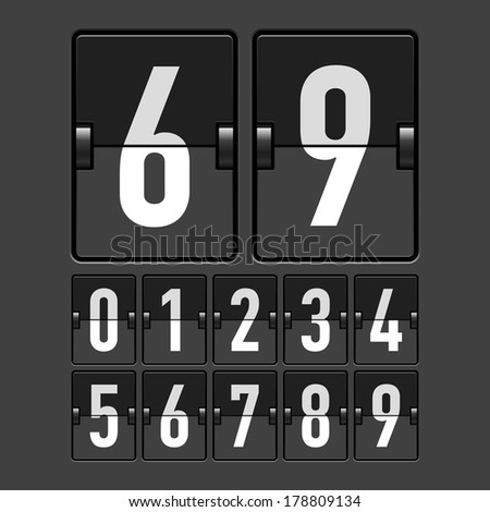 Mechanical timetable, scoreboard, information board, display numbers. Vector. - stock vector