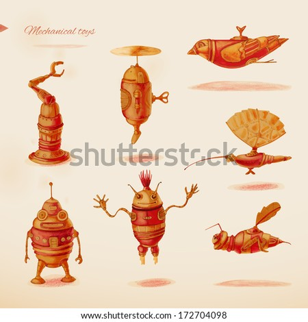 Mechanical toys. Eps 10 - stock vector