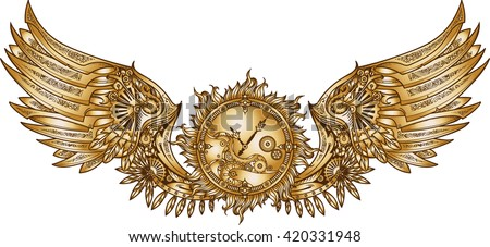 Mechanical wings in steampunk style with clockwork. Gold and black color. - stock vector