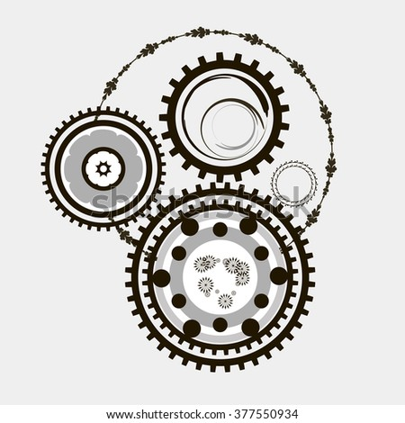 mechanics and floral ornament vector template pattern