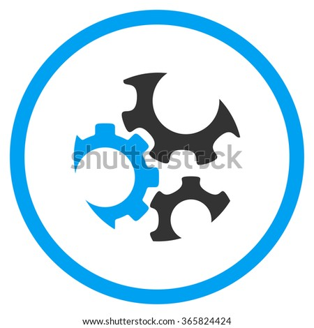 Mechanics vector icon. Style is bicolor flat circled symbol, blue and gray colors, rounded angles, white background. - stock vector