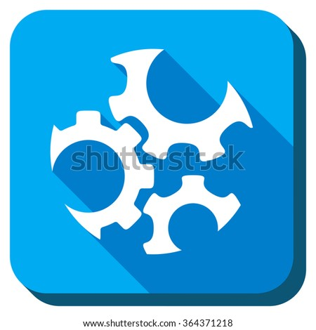 Mechanics vector icon. Style is rounded square light blue button with long shadows. Symbol color is white. - stock vector