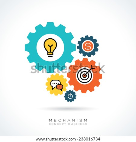 Mechanism Business start up concept with colorful gear icons illustration - stock vector