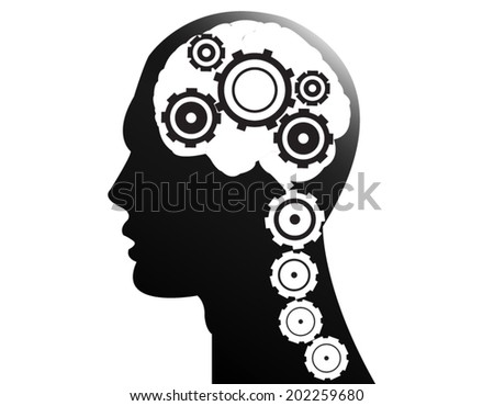 Mechanism of the brain with gears - stock vector