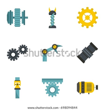 Mechanism parts icon set. Flat style set of 9 mechanism parts vector icons for web isolated on white background