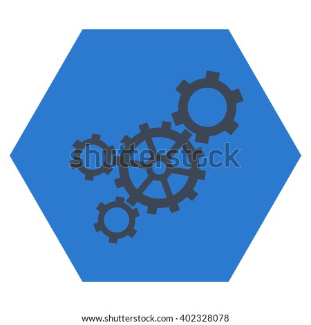 Mechanism vector icon. Image style is bicolor flat mechanism icon symbol drawn on a hexagon with smooth blue colors. - stock vector