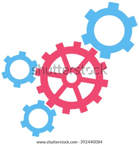 Mechanism vector icon. Image style is bicolor flat mechanism pictogram drawn with pink and blue colors on a white background. - stock vector