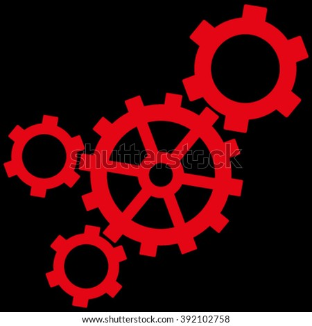 Mechanism vector icon. Image style is flat mechanism pictogram symbol drawn with red color on a black background. - stock vector