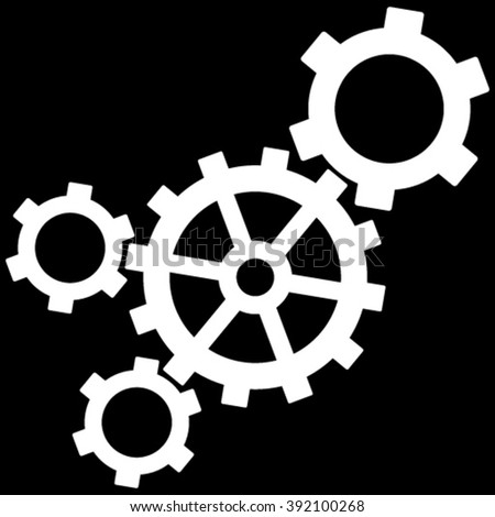 Mechanism vector icon. Image style is flat mechanism pictogram symbol drawn with white color on a black background. - stock vector