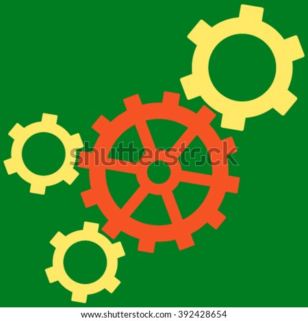 Mechanism vector icon. Picture style is bicolor flat mechanism icon drawn with orange and yellow colors on a green background. - stock vector