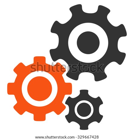 Mechanism vector icon. Style is bicolor flat symbol, orange and gray colors, rounded angles, white background. - stock vector