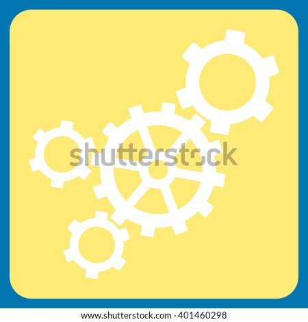 Mechanism vector icon symbol. Image style is bicolor flat mechanism pictogram symbol drawn on a rounded square with yellow and white colors. - stock vector