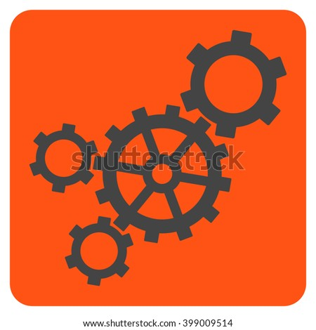 Mechanism vector symbol. Image style is bicolor flat mechanism pictogram symbol drawn on a rounded square with orange and gray colors. - stock vector