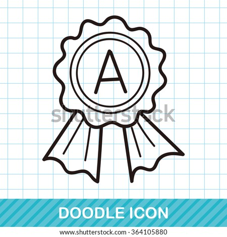 medal doodle - stock vector