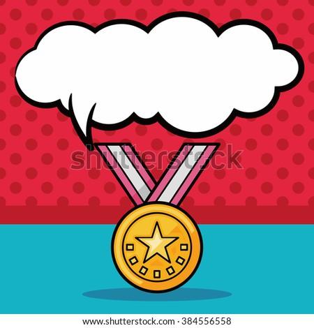 medal doodle, speech bubble - stock vector