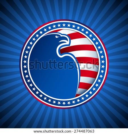 Medal American Bald Eagle Stars Stripes Stock Vector 274487063