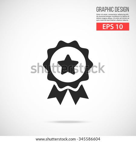Medal icon. Award black pictogram. Modern flat design vector illustration, new high quality concept for web banners, web site, infographics. Vector icon graphic art isolated on gradient background - stock vector