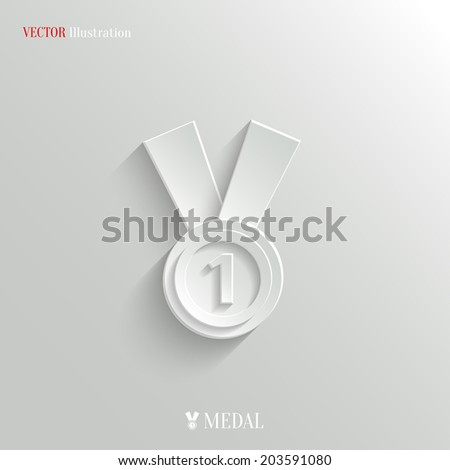 Medal icon - vector education background with shadow - stock vector