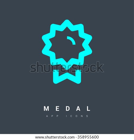 Medal isolated minimal single flat linear icon for application and info-graphic. Award line vector icon for websites and mobile minimalistic flat design. - stock vector