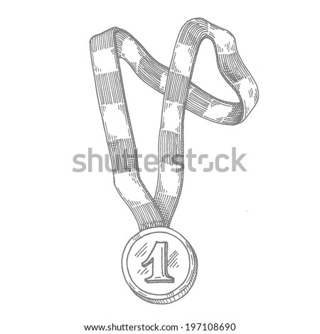 medal, vector hand drawing - stock vector
