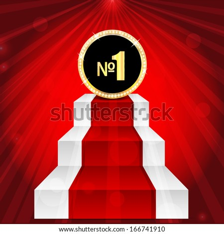 medal with number one .award in gold with brilliant stones.mark with the number one on the top of the stairs.vector  - stock vector