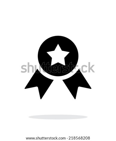 Medal with star simple icon on white background. Vector illustration. - stock vector