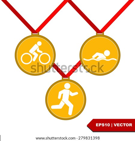 Medal with the symbol of Triathlon people inside.Vector Illustration isolated on white background. - stock vector