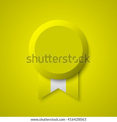 Medal. Yellow and white badge. Realistic ribbon. Vector illustration.