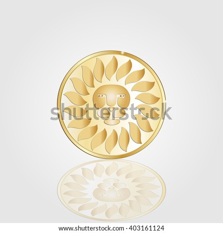 medallion with a gold lion on a gray background - stock vector