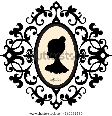 Medallion with a portrait of a girl - stock vector