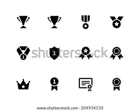 Medals and cup icons. Vector illustration. - stock vector