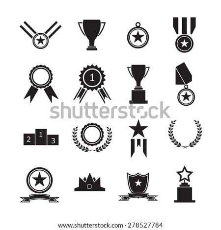 Medals and trophy award for winner - stock vector
